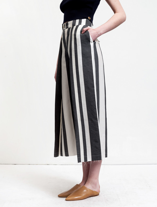 Etienne Deroeux Womens Donna Striped Wide Leg Trousers