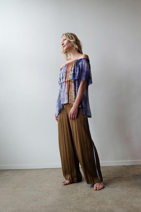 Raquel Allegra Ruffle Top - Waterfall Tie Dye