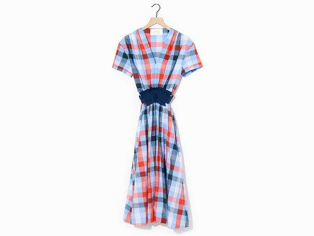 Cedric Charlier Plaid Dress - Blue/Orange