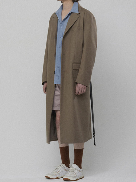 LIEU HOMME Belt Long Coat - Beige