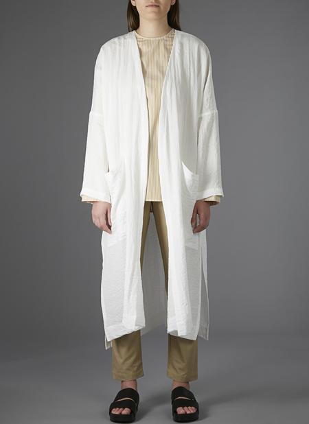 GREI PATCH POCKET OPEN KIMONO - WHITE RIPPLE CLOTH