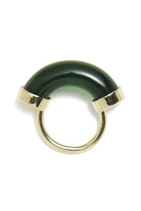 Lady Grey Fraction Lucite Ring - Emerald