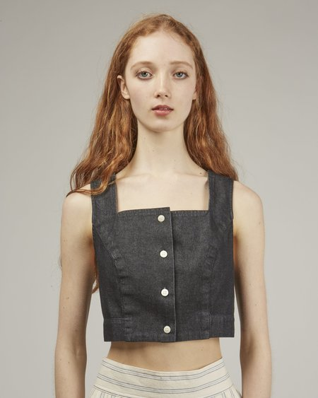 Ilana Kohn Ginny Crop Denim Top - Dark Denim