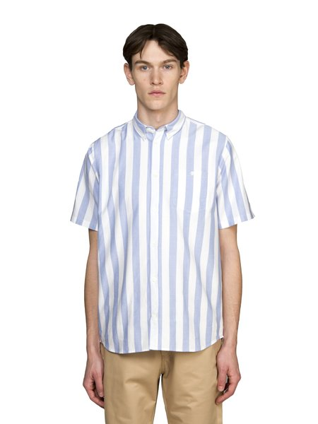 Norse Projects Theo Oxford Short Sleeve Shirt - Pale Blue Wide Stripe