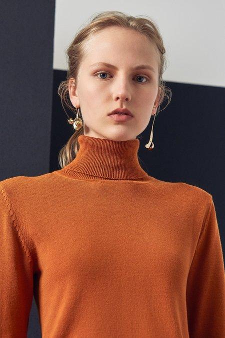 Kowtow Knit Roll Neck Top - rust