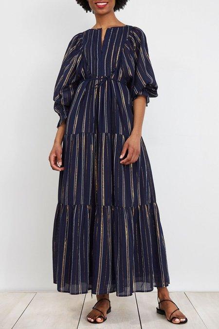 Apiece Apart Francesca Bib Tier Dress - Navy