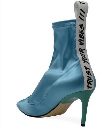 Baldan 1859 Satin Mid Heel Boot - Turquoise