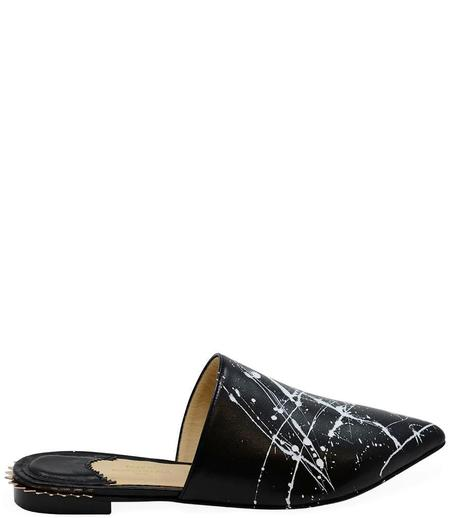 Eugene Riconneaus Painted Leather Mule - Black