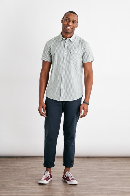 Bridge & Burn Marten Short Sleeve Button Down - Olive Bengal Stripe