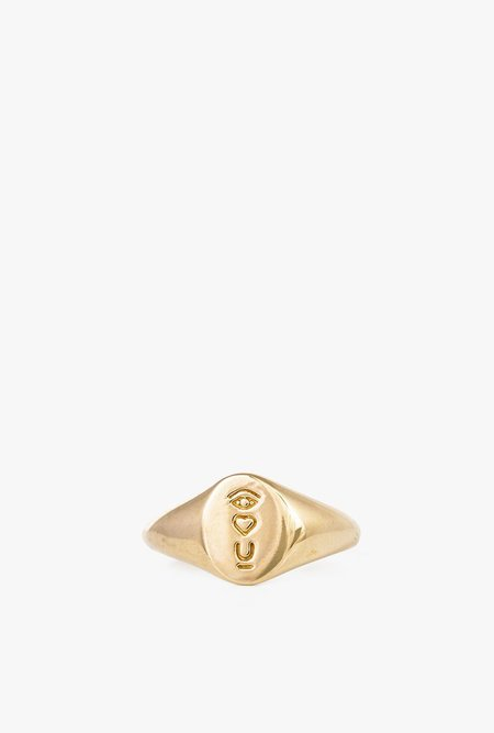I Like It Here Club Satellite of Love Signet Ring - Gold