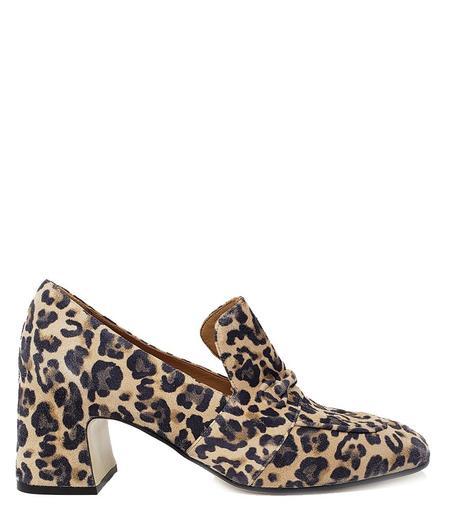 Mara Bini Mid Heel Suede Loafer - Leopard