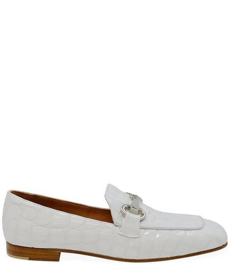 Mara Bini Leather Flat Loafer - White