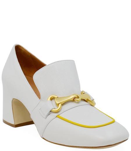 Mara Bini Leather Heel Loafer - White