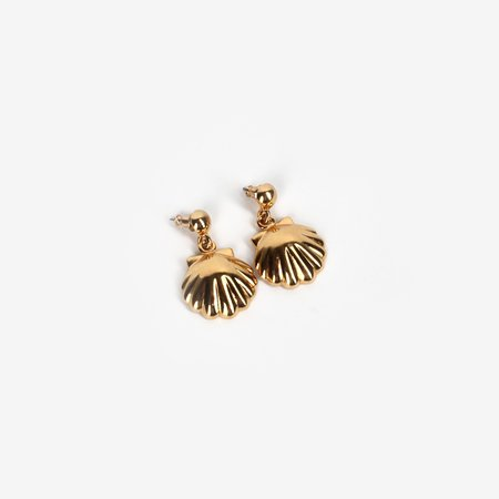 VINTAGE Leigh Collective Seashell Posts - Yellow Gold