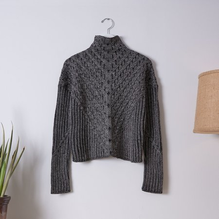 Good Omen NYC Plated Cable Pullover - Black/Ash