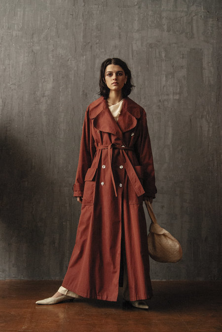 VINTAGE K M by L A N G E OVERSIZE COTTON 90s LONG TRENCH - RED WINE