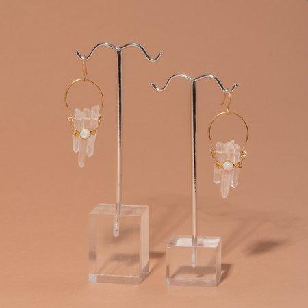 Iron Oxide Crystal Crescent Earrings - Brass/Opal