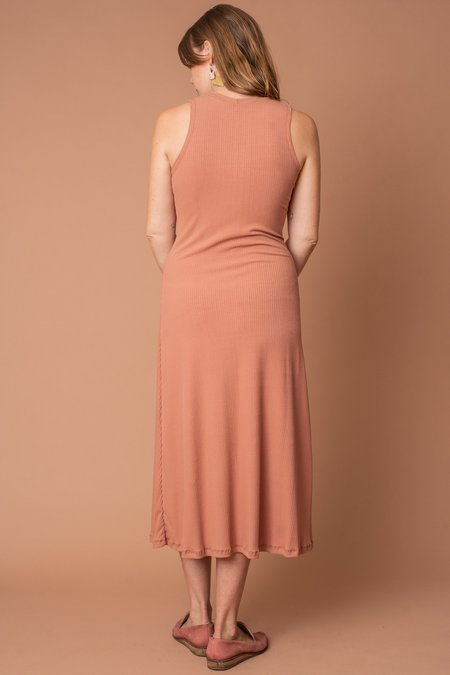 Altar Houseline Mock Turtleneck Rib-knit Dress - Dusty Rose