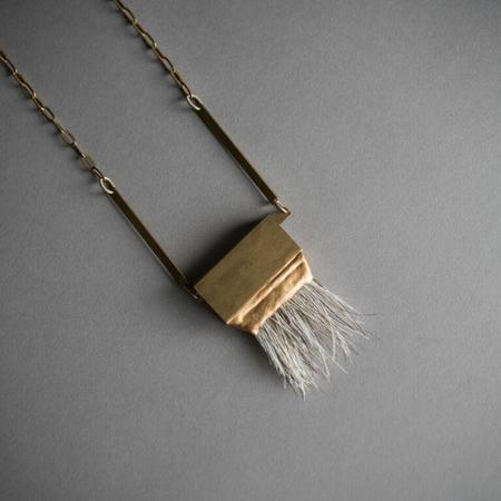 Opal Milk Horse Hair and Brass Necklace