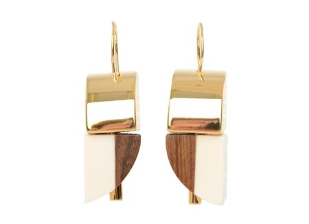 Marni Earrings With Wood - Lily White