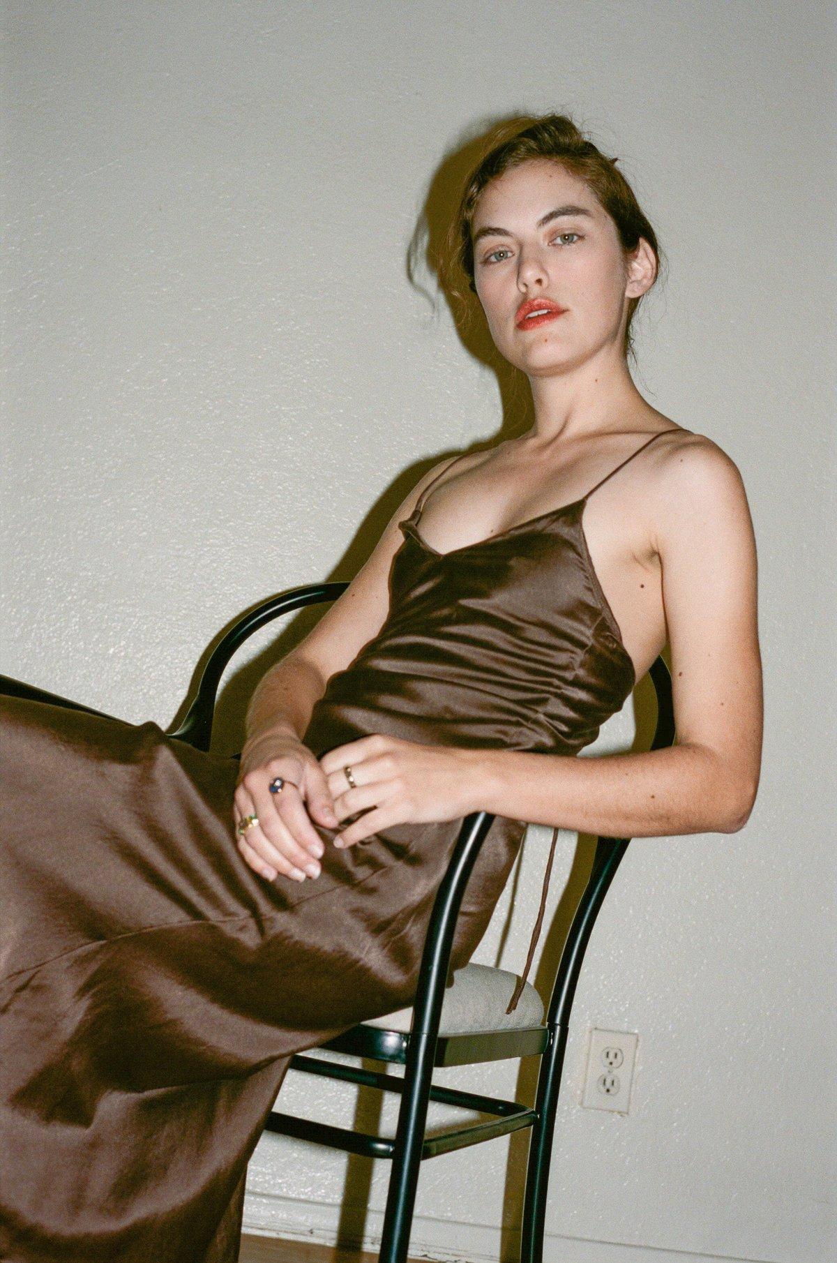 6af373df421a1 Vivien Ramsay Bias Slip Dress - Brown | Garmentory