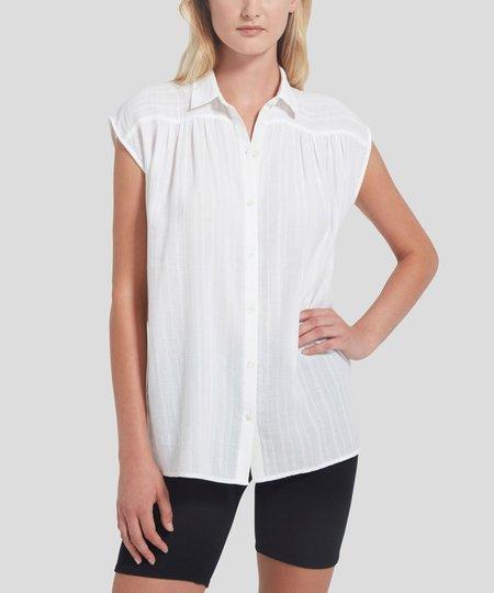 ATM Gauze Dobby Stripe Blouse - White