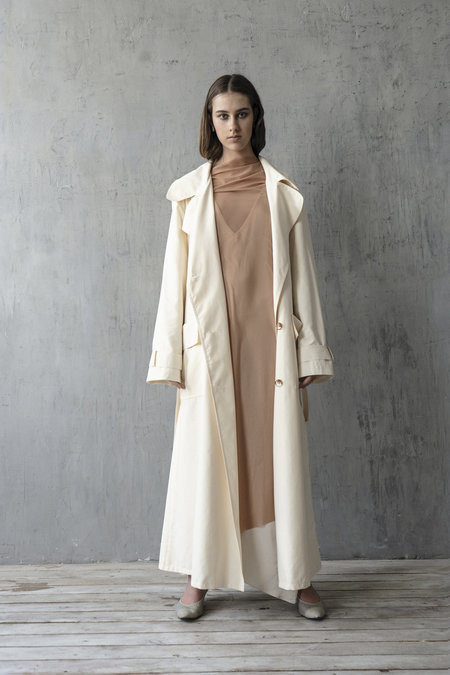 K M by L A N G E OVERSIZE CLASSIC TRENCH COAT - CREAM