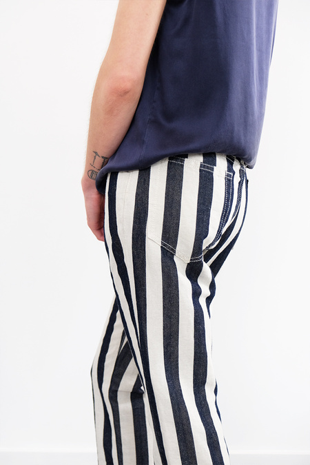 6397 Striped Shorty Jeans - Blue/White