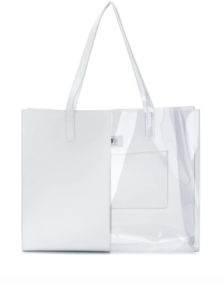 MM6 Maison Margiela Half-And-Half Tote Bag - White