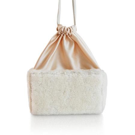 altaire Shearling Silk Box Bag - cream