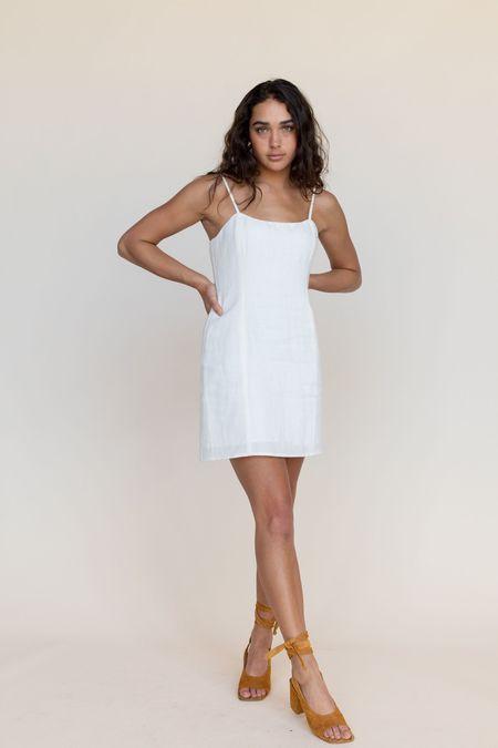 BETWEEN TEN Maria Linen Mini Dress - White