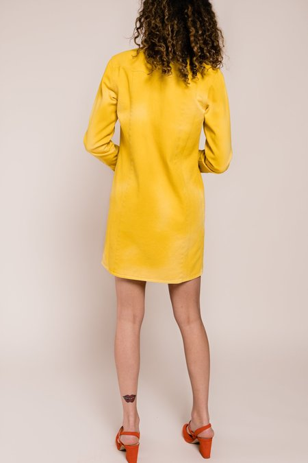 Ganni Colored Soft Denim Shirt Dress - Yellow
