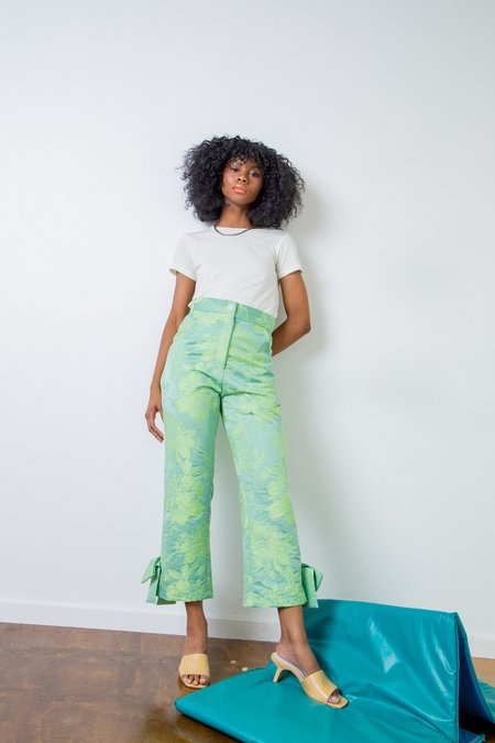 Suzanne Rae Floral Jacquard Flare Leg Pants - bright green floral