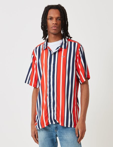 Tommy Hilfiger Camp Stripe Shirt - Flame Scarlet Red/Blue