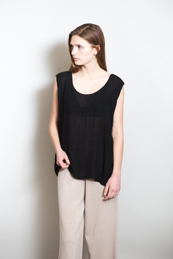 Revisited Crushed Cotton Tank / Black