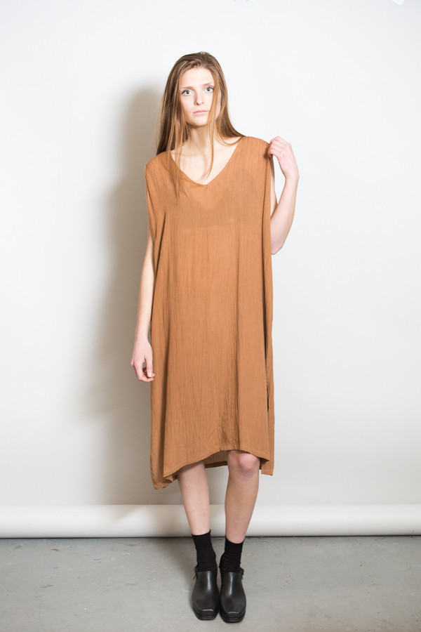 Revisited Crushed Cotton V-Dress / Siena