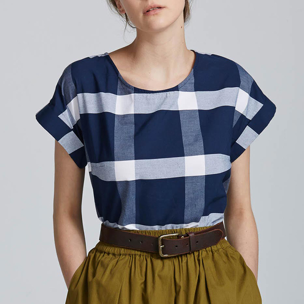 Kowtow Chapter top - navy/white check