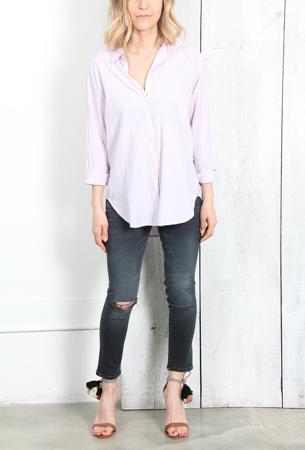 XIRENA BEAU BUTTON DOWN SHIRT IN LILAC