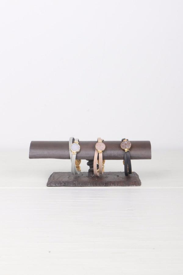 Mickey Lynn Leather Wrap W/ Agate Circle Druzy