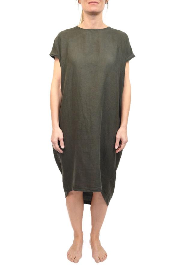 Black Crane Pleated Cocoon Dress