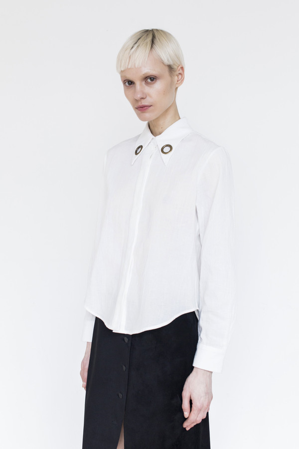Assembly Gauze Butterfly Collar Top