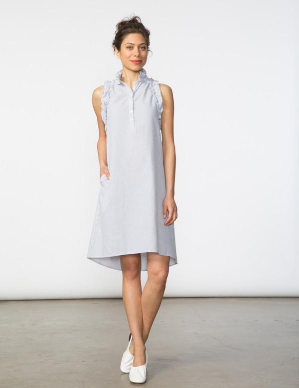 SBJ Austin Tracey Dress in Grey Seersucker