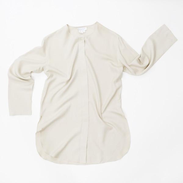 Collarless Silk Shirt