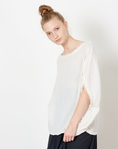 Black Crane Double Gauze Top - Cream