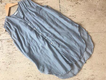 CP Shades Kaila Micro Stripe Cotton Silk Shirt - blue