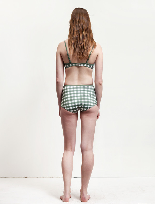 Solid and Striped Brigitte Bottom Olive/Cream Gingham