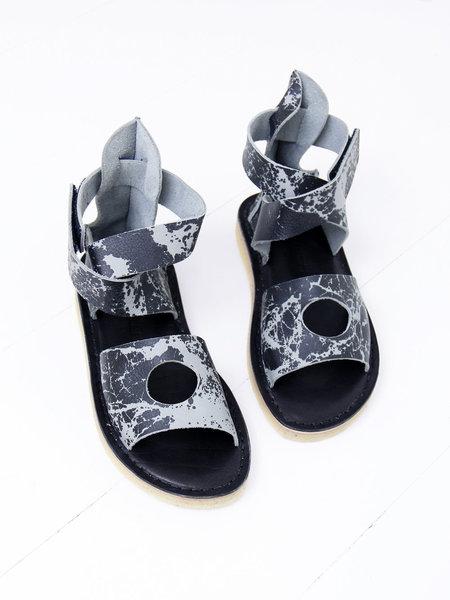 ANNTIAN x Trippen Flat Sandal - Blue/Black Print