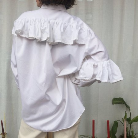 Vintage Reworked Ruffled Button-Up - WHITE