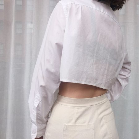 Vintage Reworked Bikini-Hem Button-Up - WHITE