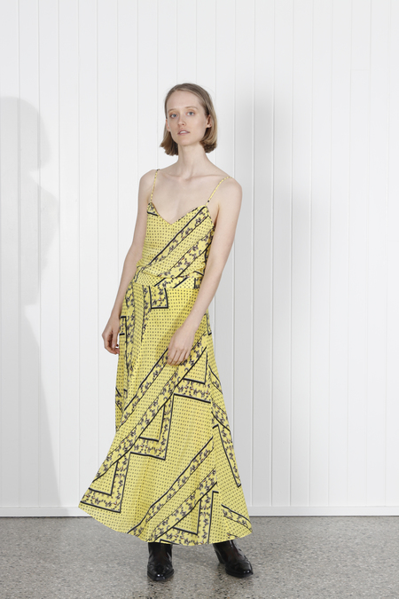 Ganni Hemlock Silk Skirt - Yellow